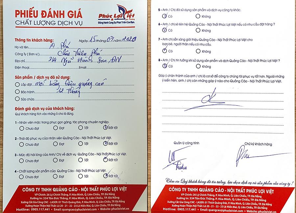 Danh Gia Dich Vu Quang Cao Phuc Loi Viet Cua Quy Khach