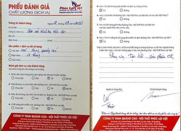 Phiếu đánh giá & bảo hành dịch vụ Quảng cáo Nội Thất Phúc Lợi Việt