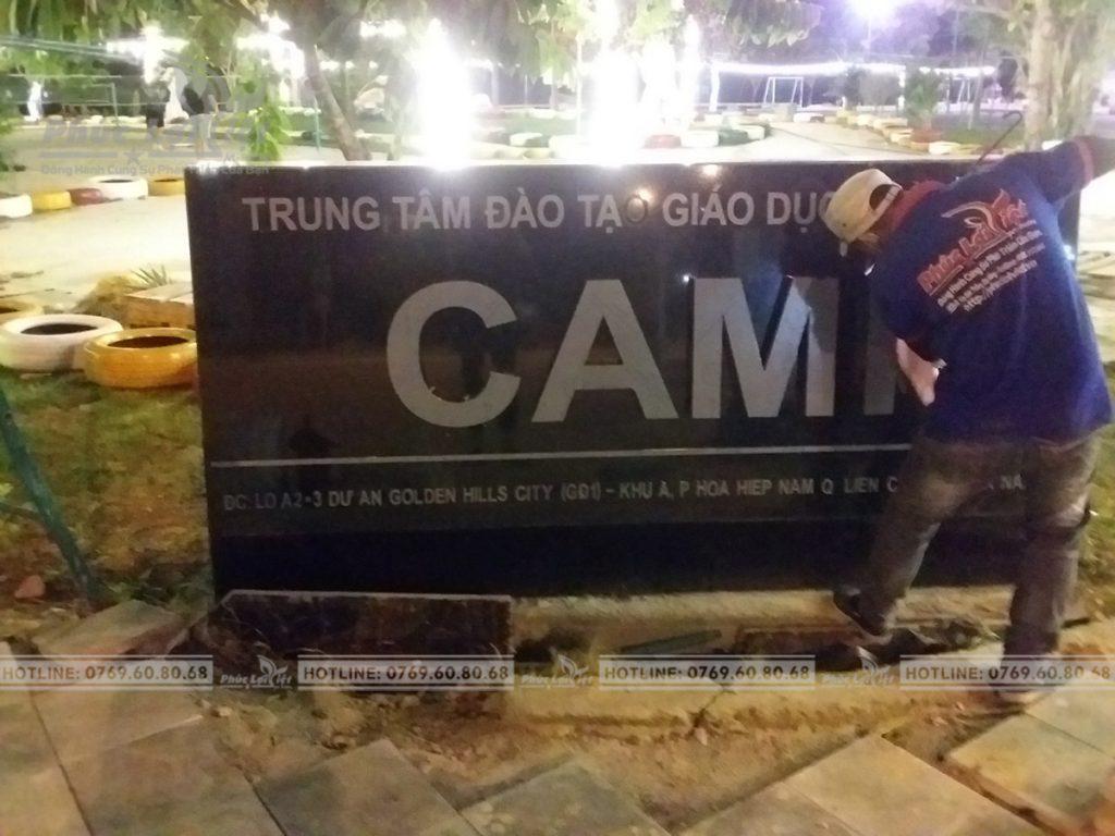 Thi công lắp đặt chữ Inox CAMI..