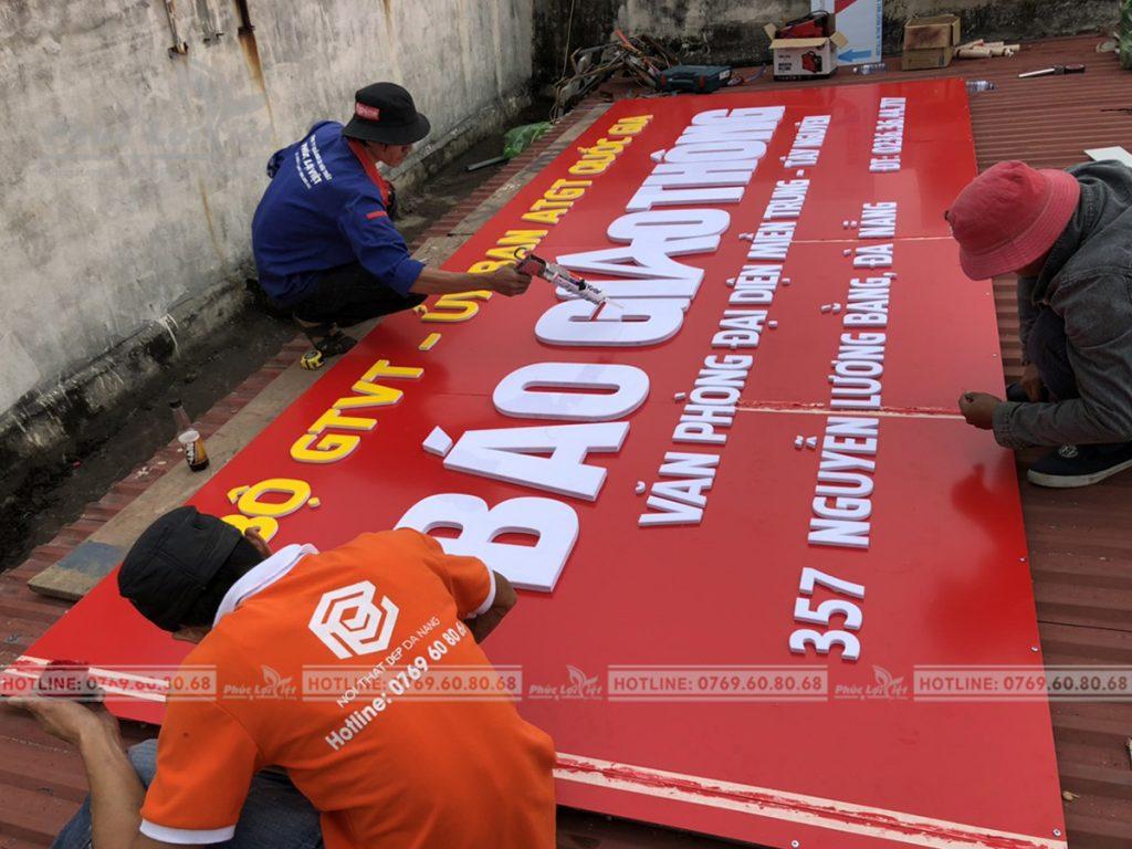 Thi công bảng hiệu quảng cáo VP Báo Giao Thông tại Đà Nẵng.