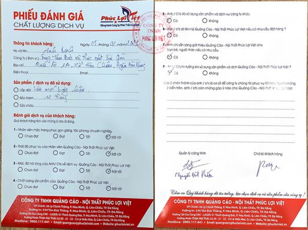 Đánh giá chất lượng dịch vụ của khách hàng với Quảng cáo Phúc Lợi Việt và phiếu bảo hành