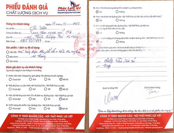 Đánh giá dịch vụ Quảng cáo - Nội thất Phúc Lợi Việt của Trung tâm ngoại ngữ OTG