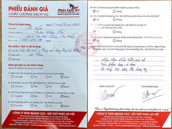 Đánh giá dịch vụ Quảng cáo - Nội thất Phúc Lợi Việt của Công ty Thiên Nhân Phú
