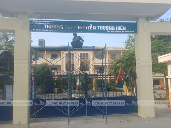 thi công chữ Inox cổng trường Nguyễn Thượng Hiền Đà Nẵng