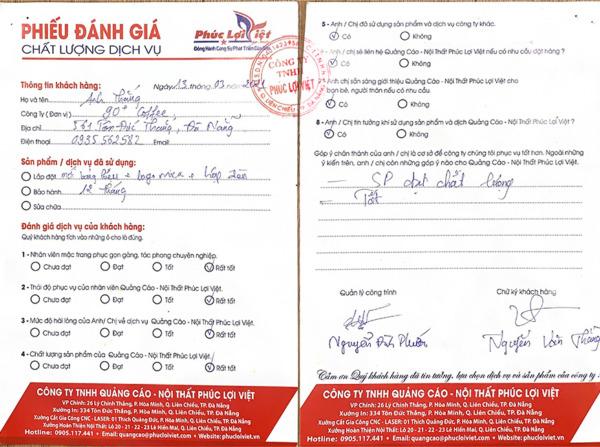 Đánh giá dịch vụ Quảng cáo - Nội thất Phúc Lợi Việt của Quán Coffee 90+