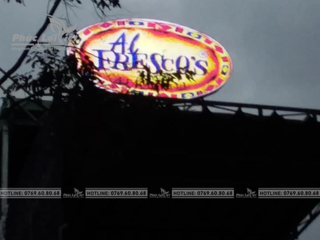 Thi công Logo, chữ nổi, đèn Led Nhà Hàng Al Fresco's.